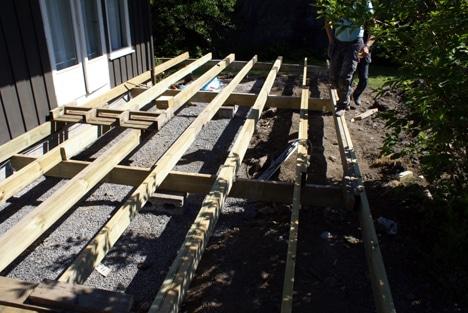 Det bygges platting inntil huset