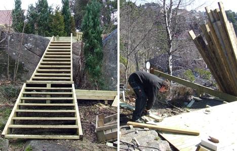 Bygge terrasse i skråning