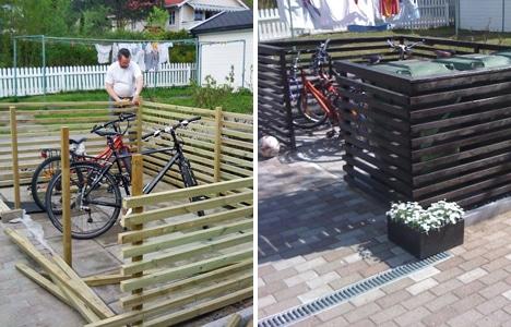 """""""Miljøstasjon"""" til sykler og søppeldunker"""
