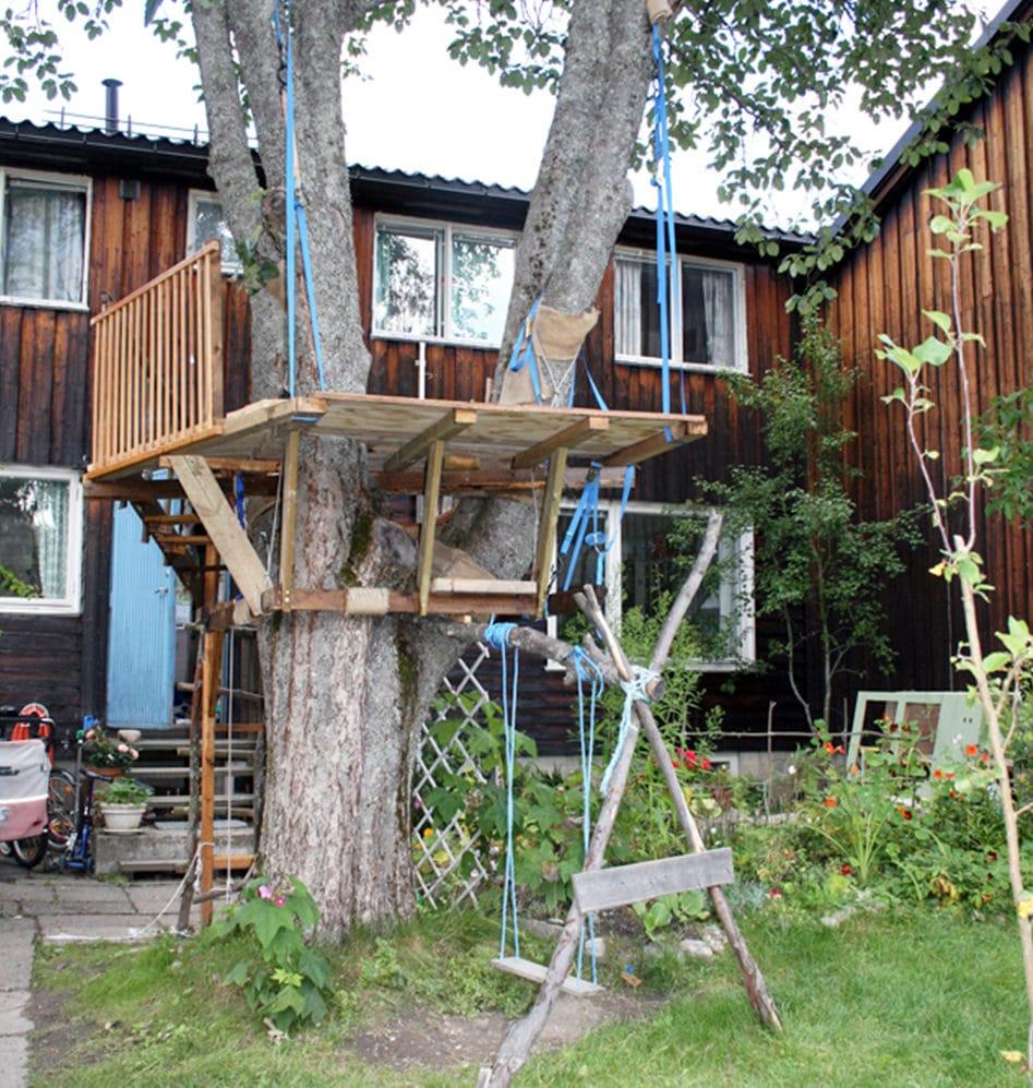 Bygger hytte