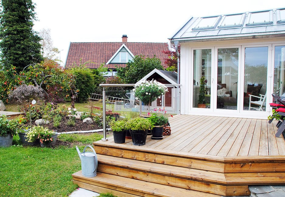 Terrasse, trapp og rekkverk