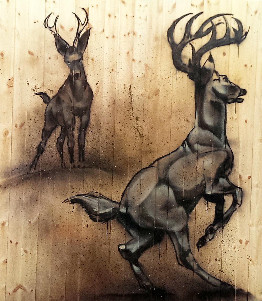 Hjorter på ubehandlet Skogenpanel