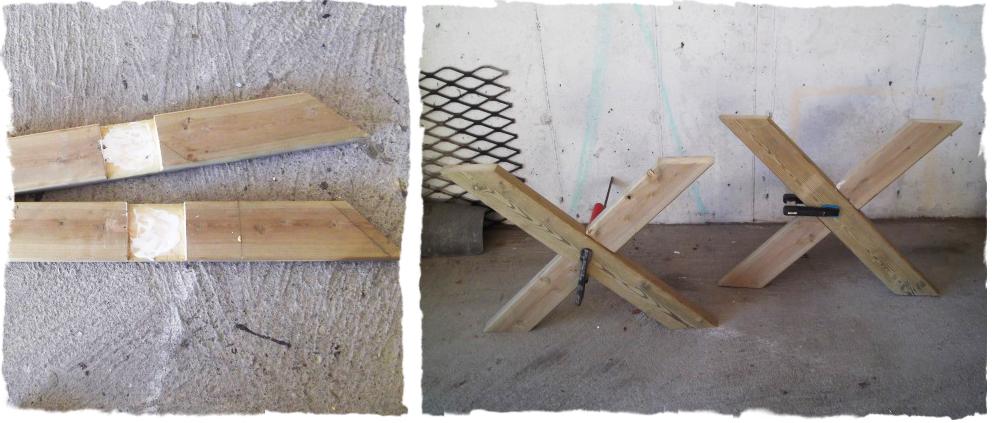Toppbordene legges ut med ca. 8 mm avstand og kryssbeina settes opp? ...