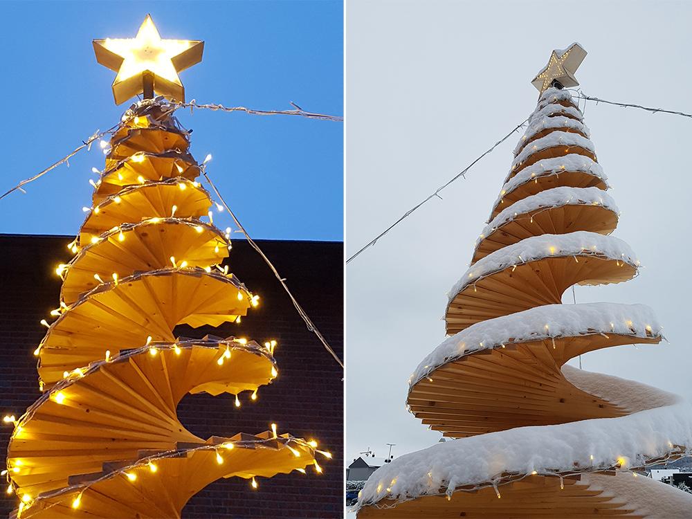 Bilde av juletre laget med materialer fra granpanel - Åpen Klasse - finalist nummer 7