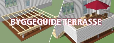 Tegning av byggeprosess terrasse med lenke til byggeguide https://www.bergeneholm.no/byggeguider/bygge-terrasse