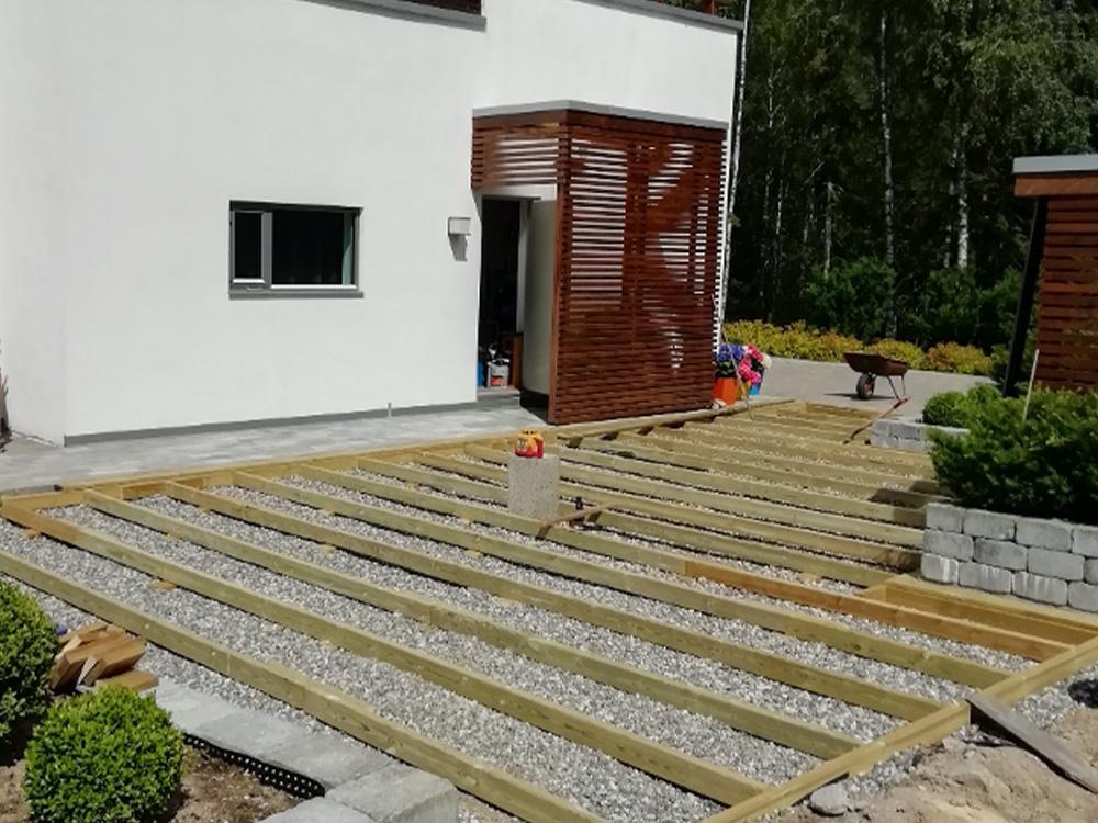 Bilde av fundament til terrassen. Uteromsprisen 2021. Finalist nummer 6.