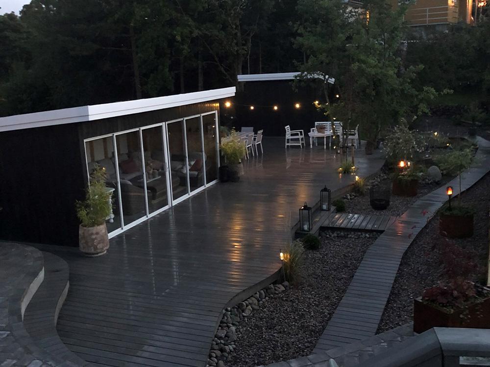 Oversiktsbilde av terrasse til finalist nummer 7 i uteromsprisen 2021.