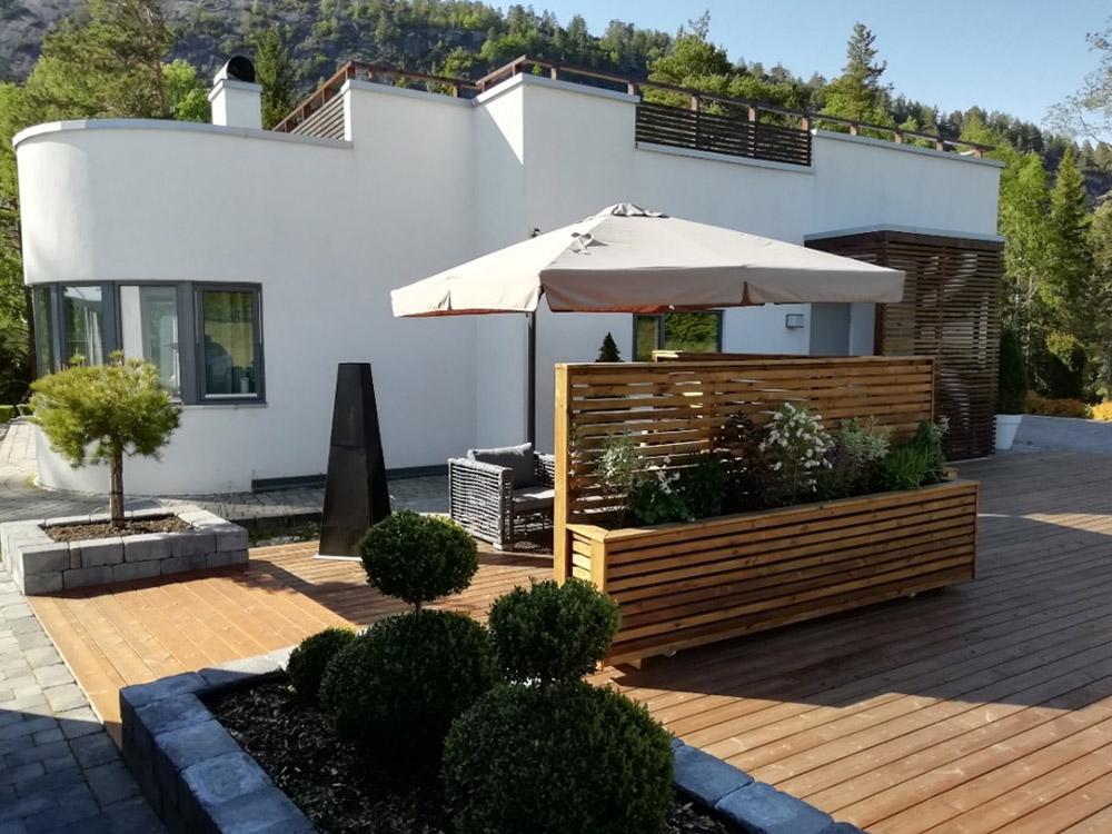 Bilde av uterom med terrasse. Finalist nummer 6 uteromsprisen 2021.