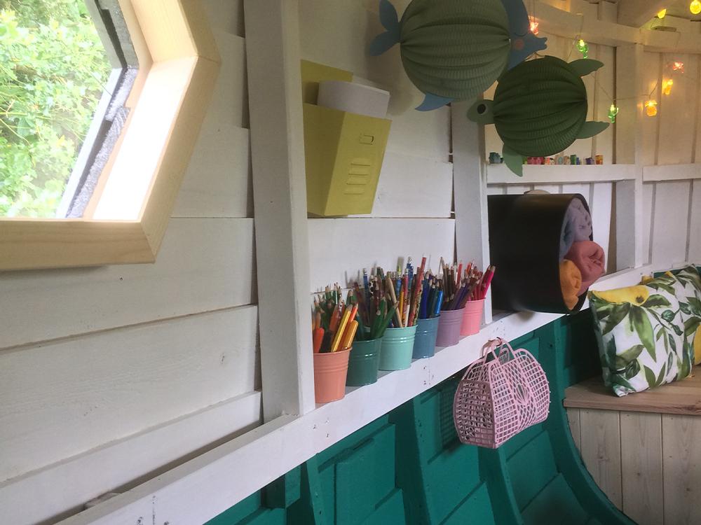 Bilde av båthytte hos finalist nummer 1 i Barnas Trepris i kategorien 'Trehytter'