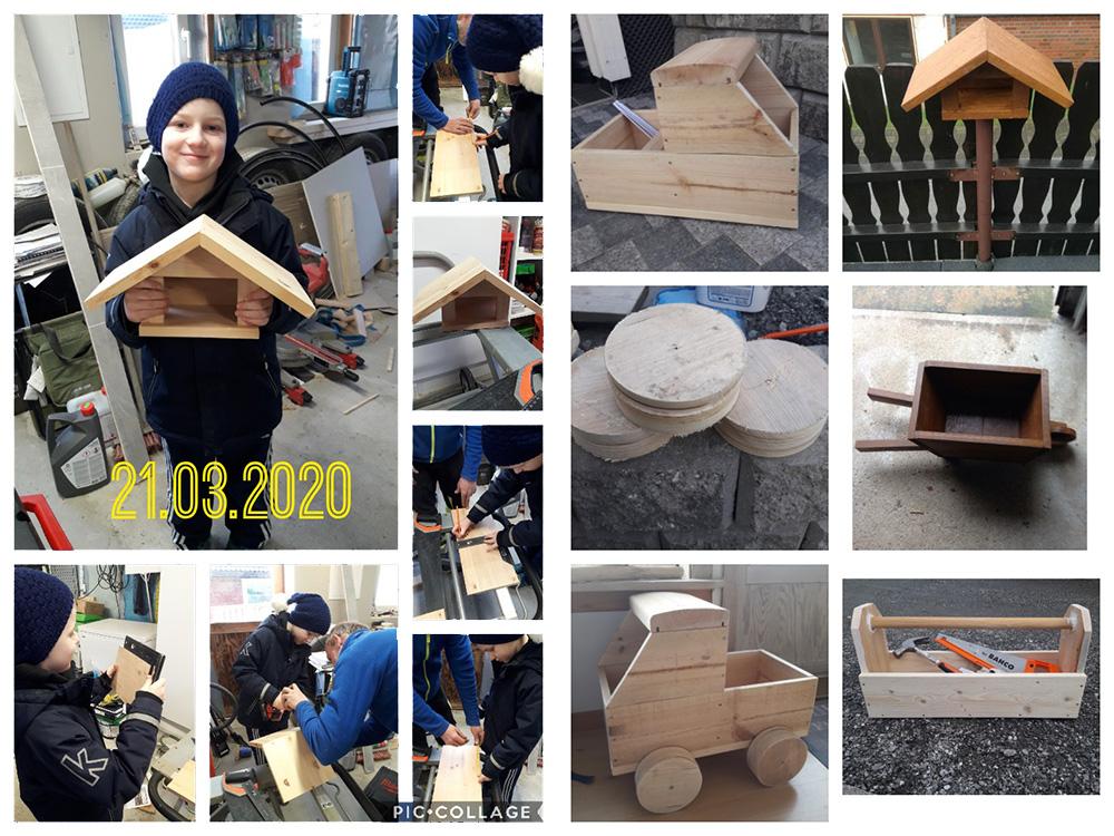 Sammensatt bilde av flere byggerier til finalist nummer 4 i årets Barnas Trepris. Kategori 'Små Byggerier'