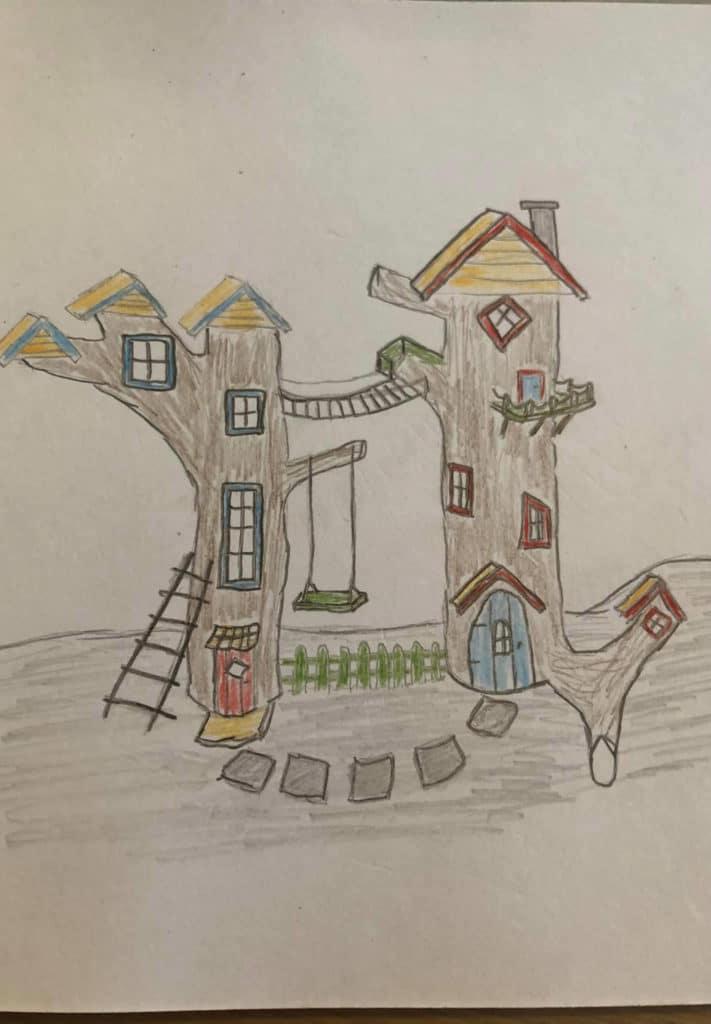 Bilde av finalist Barnas Trepris - små byggerier - Skisse av de kreative trestubbene