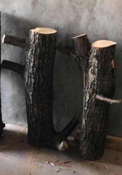 Bilde av finalist Barnas Trepris - små byggerier - kreative trestubber før de ble pyntet og dekorert