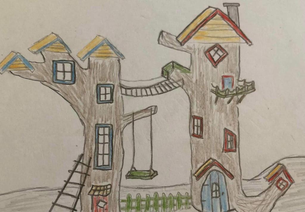 Bilde av arbeidsskissen til vinner av barnas trepris i kategorien 'små byggerier'
