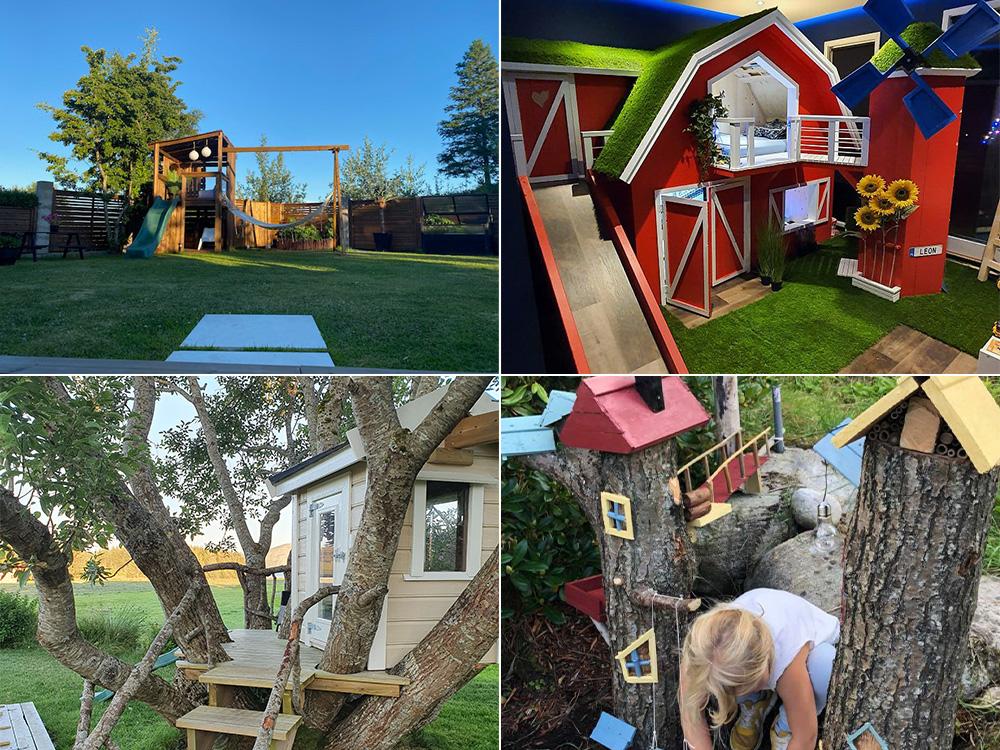 Bilde av de fire vinnerprosjektene i de ulike kategoriene i årets barnas trepris.