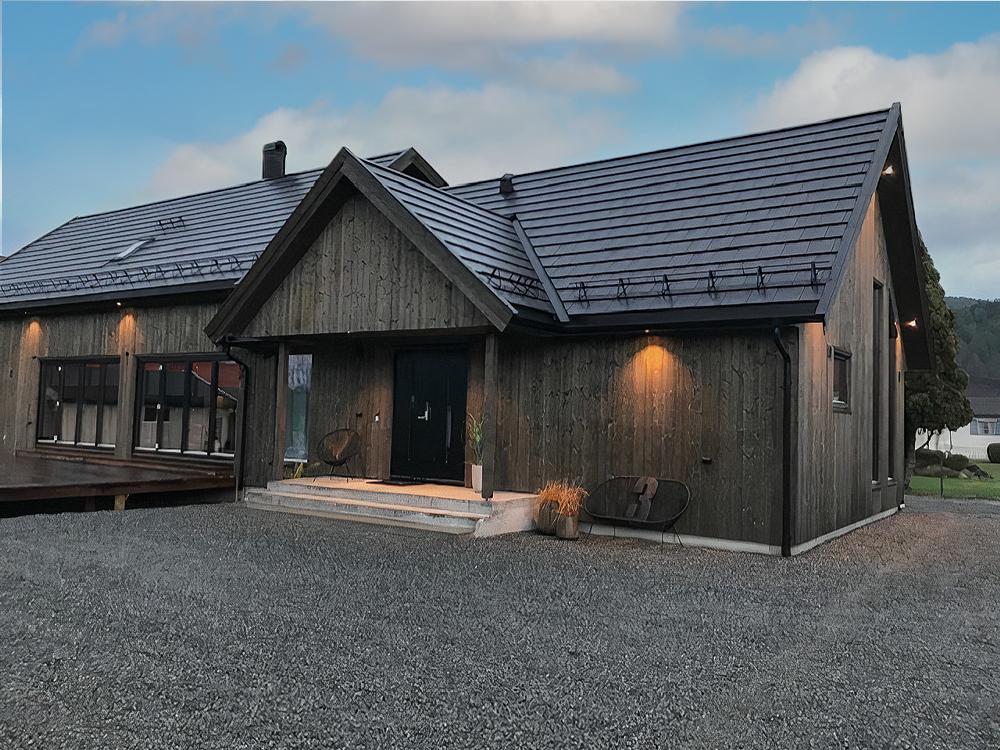 Bilde av huset til finalist nummer 1 i årets eksteriørpris.